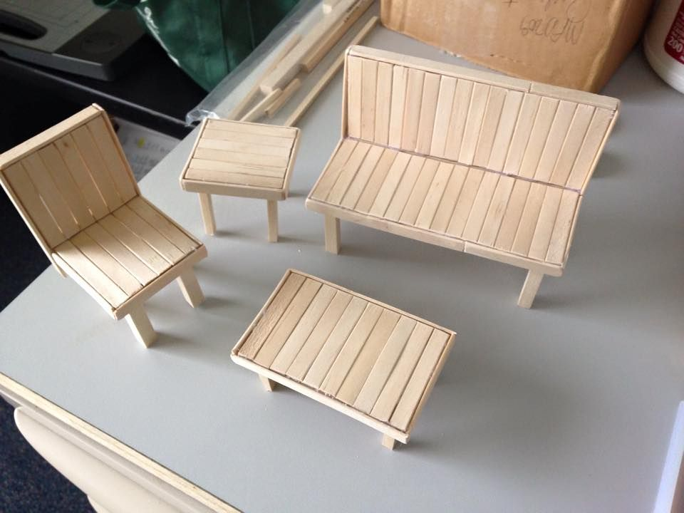 how to make miniature furniture out of popsicle sticks
