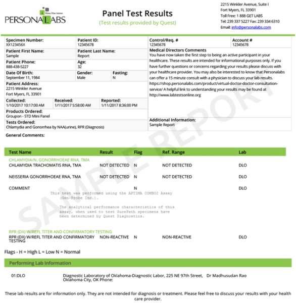 clean std test results pdf