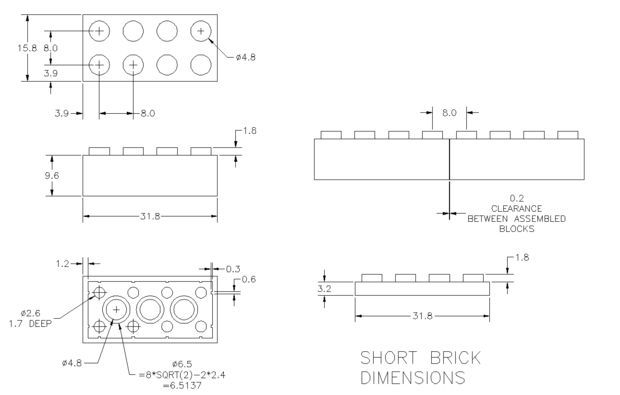 lego brick instructions dimensions
